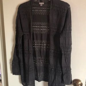 JJill crochet and knit olive sweater size M